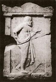 Επιτύμβια στήλη γενειοφόρου ανδρός από την Αμφίπολη, τέλη 5ου αι. π.Χ. (αρ. κατ. 1).