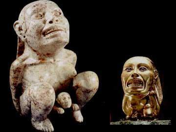 Αριστερά το αυθεντικό αγαλματίδιο της Συλλογής Dumbarton Oaks και δεξιά το χρυσό αντίγραφο που χρησιμοποιήθηκε στην ταινία...