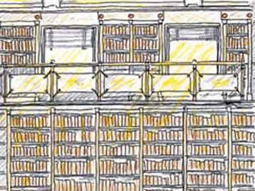 Σχέδιο του αρχιτέκτονα Κων. Στάικου για τη διαμόρφωση του χώρου της Βιβλιοθήκης