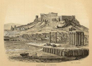 Η Ακρόπολη των Αθηνών στην προμετωπίδα του βιβλίου Ernest Breton, Athènes: décrite et dessinée..., Παρίσι, 1862