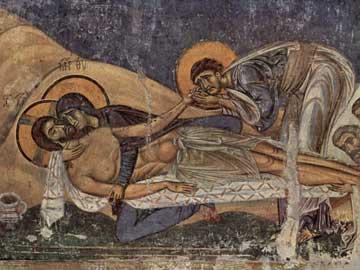 Επιτάφιος Θρήνος. Άγιος Παντελεήμων, Νέρεζι (Σκόπια), 12ος αι.