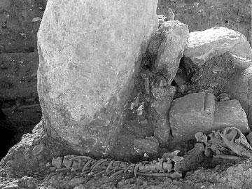 Η πιθοταφή του εφήβου και δίπλα ο σκύλος του όπως βρέθηκαν στη νεκρόπολη της Ελεύθερνας στην Κρήτη.