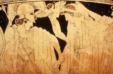 Ο Πάρις οδηγεί την Ελένη, ανάμεσά τους ο Έρωτας. Ερυθρόμορφος σκύφος του Μάκρωνος, 490-480 π.Χ