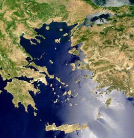 Δορυφορική φωτογραφία του Αιγαίου (Πηγή: fr.wikipedia.org)