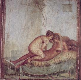 Ζευγάρι στο κρεβάτι σε τοιχογραφία της οικίας του Centenario στην Πομπηία (δωμάτιο 43), 62-79 μ.Χ.
