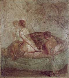 Ζευγάρι στο κρεβάτι σε τοιχογραφία της οικίας του Caecilius Iucundus στην Πομπηία, 62-79 μ.Χ.