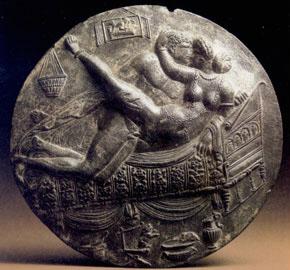 Χάλκινο πρυκτό κάτοπτρο που βρέθηκε στο λόφο του Παλατινού στη Ρώμη, 69-79 μ.Χ. Ρώμη, Antiquarium Comunale.