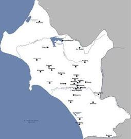 Απεικόνιση του συνόλου των θέσεων ανεσκαμμένων ταφικών συνόλων της Ύστερης Εποχής του Χαλκού στην Ηλεία.