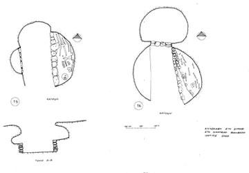 Στρέφι, κατόψεις των «υβριδικών» τάφων V και VI.