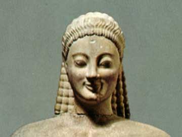 Ο Κούρος της Βολομάνδρας, μέσα 6ου αι. π.Χ. Πρόκειται για επιτύμβιο Κούρο της ώριμης φάσης της αττικής πλαστικής.