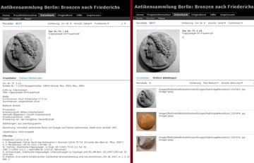 Bilddatenbank Friederichs, δελτίο με την περιγραφή ενός χάλκινου αντικειμένου και, δίπλα, οι διαθέσιμες εικόνες του στη βάση.