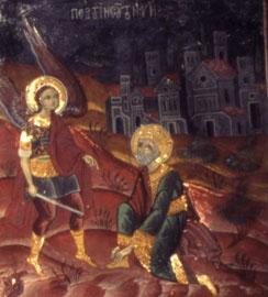 Μονή Ρουκουνιώτη. Η εμφάνιση του Αρχαγγέλου στον Ιησού του Ναυή και η κατάληψη της Ιεριχούς (Κύκλος Αρχαγγέλων).