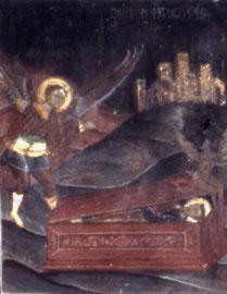 Μονή Ρουκουνιώτη. Ο Αρχάγγελος Μιχαήλ βγάζει το δαιμόνιο από το μοναχό Μιχαήλ (Κύκλος Αρχαγγέλων).