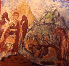 Ξωκλήσι Μιχαήλ Κοκκιμήδη. Η εμφάνιση του Αρχαγγέλου στον Ιησού του Ναυή και η κατάληψη της Ιεριχούς.