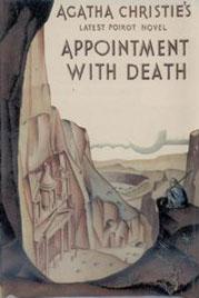 Εξώφυλλο του Robin Macartney για το Appointment with Death (1938) με την πρόσοψη του τάφου της Χαζνέ στην Πέτρα, Ιορδανία.