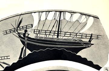 Αττική μελανόμορφη κύλικα από το Vulci της Ετρουρίας, με καταδίωξη εμπορικού πλοίου από πειρατικό (π. 500 π.Χ., Βρετ. Μουσείο).
