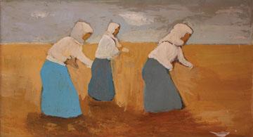 Κ. Γλιάτας, Γυναίκες που θερίζουν σιτάρι, λάδι σε ξύλο, 89x46 εκ.