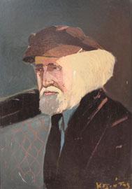 Κ. Γλιάτας, Προσωπογραφία του Γιάννη Τσαρούχη, λάδι σε ξύλο, 33x48 εκ.