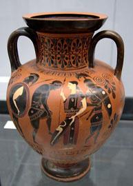 Mελανόμορφος ελληνικός αμφορέας από τις ανασκαφές στο Vulci.