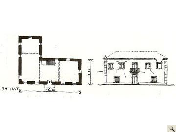 Αποτυπωμένη κατοικία κάτοψης σχήματος Γ (sette), Πλατυμπόρος Κεφαλονιάς. (Σχεδίαση: Χ. Φραγκούλη).