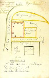 Οικοδομική άδεια για νέα μονώροφη κατοικία ορθογωνικής κάτοψης (κόκκινο χρώμα). Υπόθεση 22, Ιθάκη 1827.