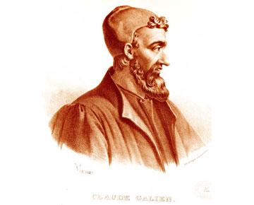 Ο Γαληνός σε φανταστική απεικόνιση από τον Pierre Roche Vignéron, λιθογραφία. Παρίσι: Lith de Gregoire et Deneux, ca. 1865