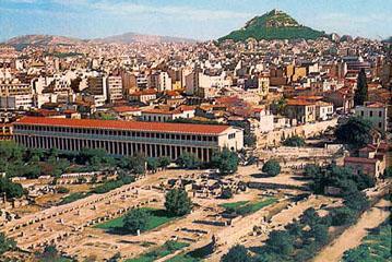 H αρχαία αγορά των Αθηνών με τη Στοά του Αττάλου.