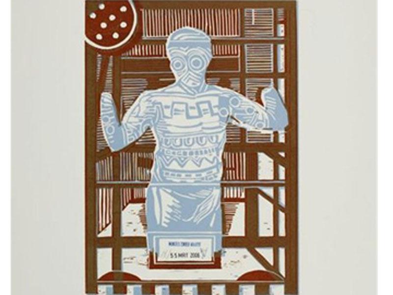 Το εργο της Ελιζαμπετ ντε Βαλ «Προς δοκιμή για 14 μέρες, 2006, έγχρωμο λινόλαιο.