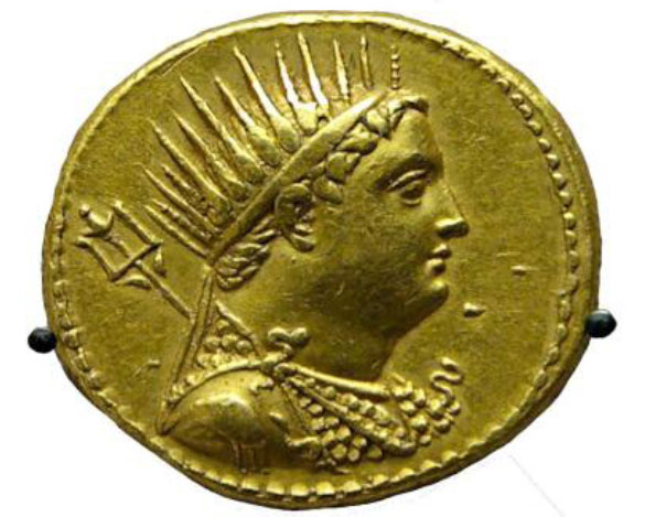 Εικ. 9β. Πορτραίτο του Πτολεμαίου Γ' σε νόμισμα.