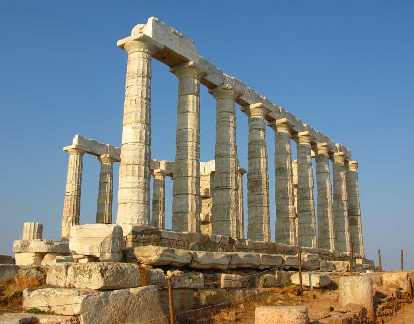 Ο ναός του Ποσειδώνα στο Σούνιο.