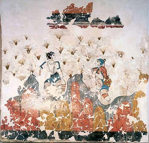 Οι Κροκοσυλλέκτριες. Τοιχογραφία που αποκαλύφθηκε στον οικισμό του Ακρωτηρίου της Σαντορίνης.