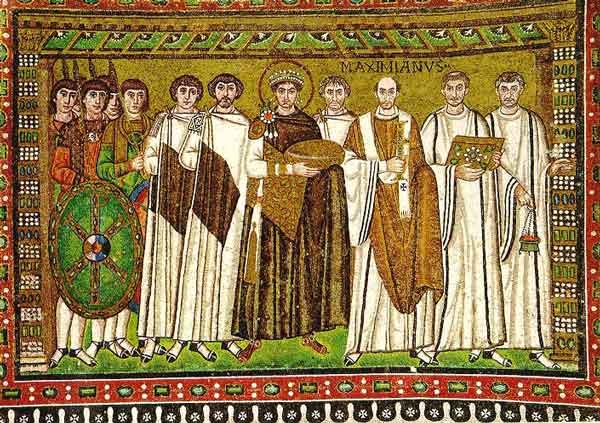 Ο βυζαντινός αυτοκράτορας Ιουστινιανός και η ακολουθία του. Ψηφιδωτό από τη Ραβέννα.