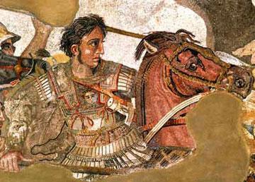 Παράσταση του Μ. Αλεξάνδρου σε ψηφιδωτό της Πομπηίας.