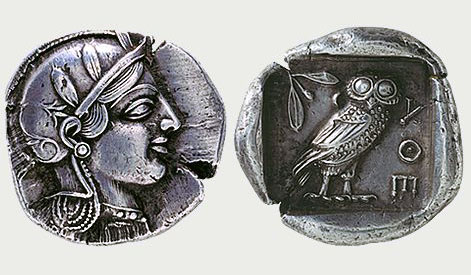 Αργυρό τετράδραχμον Αθηνών, 440 π.Χ. Νομισματικό Μουσείο, Αθήνα.