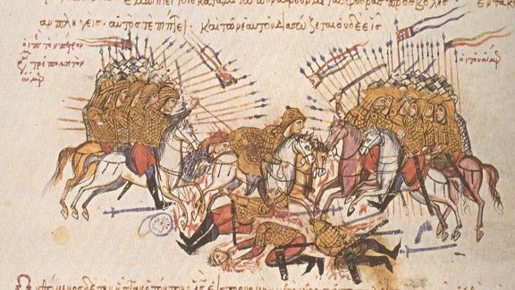 Βυζαντινοί νικούν 'Άραβες σε μικρογραφία χειρογράφου, 12ος-13ος αι., Μαδρίτη, Εθνική Πινακοθήκη