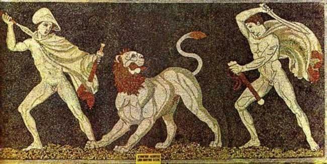 Το κυνήγι των λιονταριών. Ψηφιδωτό, 325 π.Χ. Αρχαιολογικό Μουσείο Πέλλας.