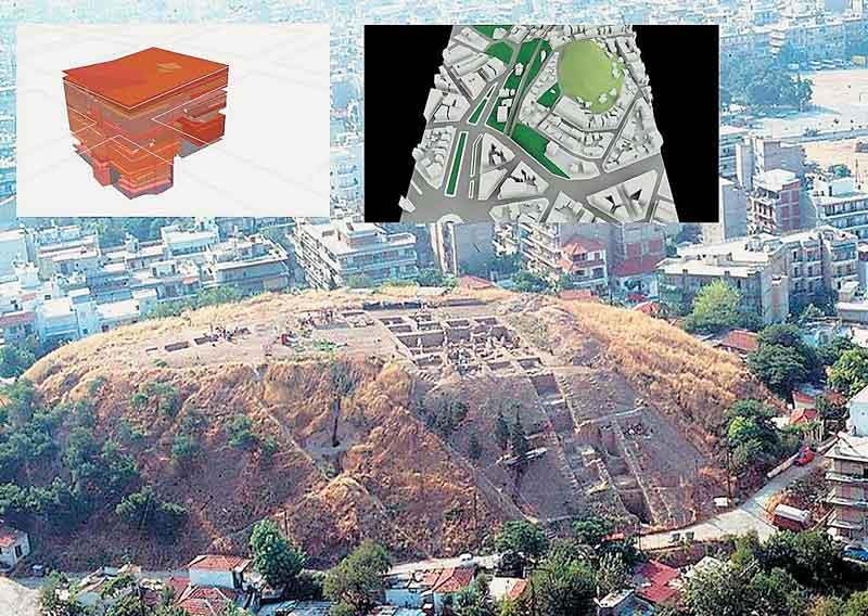 Αεροφωτογραφία της ανασκαφής της Τούμπας Θεσσαλονίκης και τρισδιάστατη απεικόνιση στρωματογραφίας ανασκαφικού σκάμματος και του αρχαιολογικού χώρου.