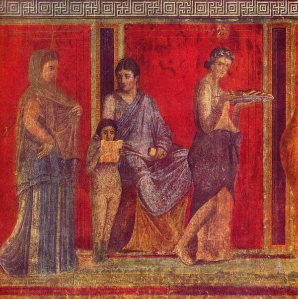 Τοιχογραφία από τη Βίλα των Μυσητρίων της Πομπηίας.