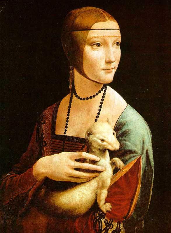 Λεονάρντο ντα Βίντσι, Η «Κυρία με την ερμίνα», 1489/90. Κρακοβία.
