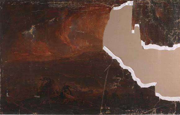 Ο πίνακας του John Martin πριν από την αποκατάσταση.