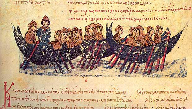 Τμήμα του αραβικού στόλου κατά τη ναυτική εκστρατεία εναντίον της Κρήτης, 823–828. Ι. Σκυλίτζης, Εθνική Βιβλιοθήκη Ισπανίας, Μαδρίτη.
