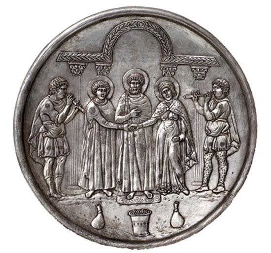 Αργυρό πινάκιο που εικονίζει το γάμο του Δαβίδ, 628-30. Κυπριακό Μουσείο, Λευκωσία.