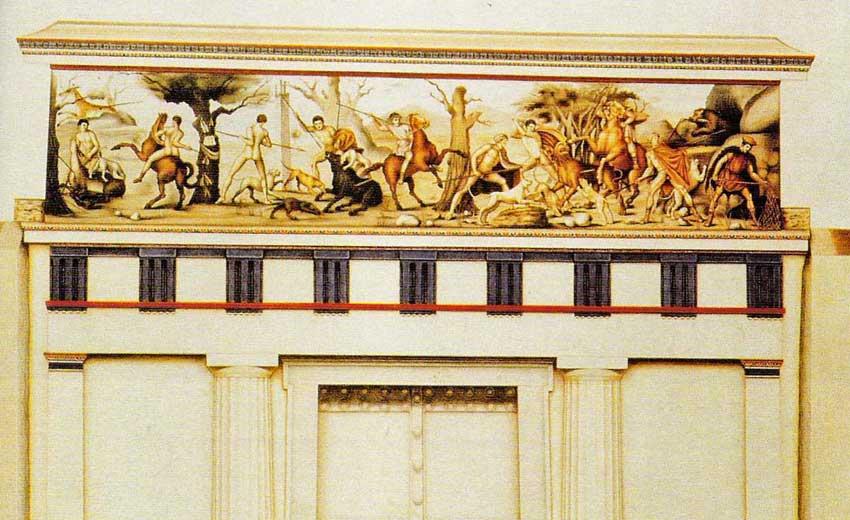 Αναπαράσταση της τοιχογραφίας με τη σκηνή του κυνηγιού από τον βασιλικό τάφο ΙΙ, στη Βεργίνα.