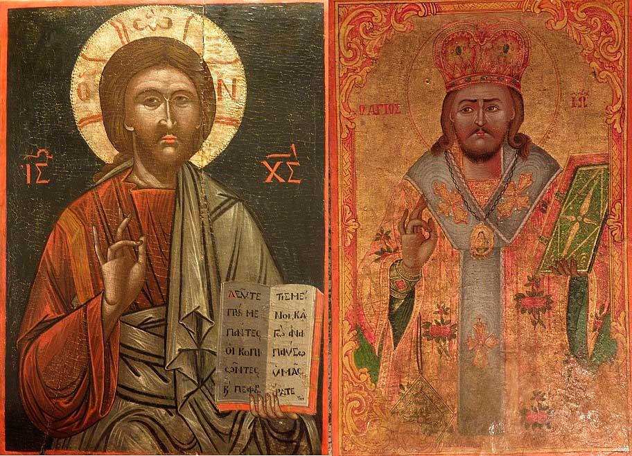 Οι κλεμμένες μεταβυζαντινές εικόνες, του Χριστού και του Ιωάννου Χρυσοστόμου, οι οποίες εντοπίστηκαν στο Dusseldorf της Γερμανίας και επιστρέφουν στην Κύπρο.