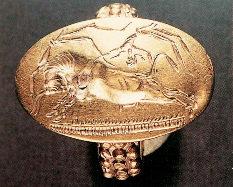 Χρυσό σφραγιστικό δακτυλίδι. Τάφος Άνθειας, 16ος αι. π.Χ.