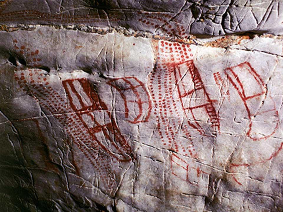 Εικ. 1. Αφηρημένα βραχογραφήματα της κανταβρικής παράδοσης από το παλαιολιθικό σπήλαιο στη θέση Monte del Castillo, Puente Viesgo της Ισπανίας.
