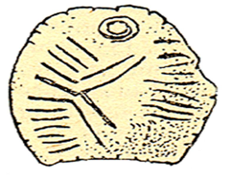 Εικ. 3. Εύρημα με εγχάρακτα σημεία (σύμβολα) από το Mitoc της ΝΑ Ρουμανίας. Χρονολογήθηκε στα 27000 πριν από σήμερα.