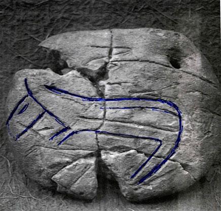 Εικ. 32. Πήλινη πινακίδα με εγχάρακτη μορφή ζώου από το Δισπηλιό (βλ. και εικ. 31).