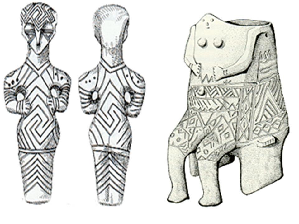Εικ. 4. Ειδώλια διακοσμημένα με εγχάρακτα γεωμετρικά σημεία (σύμβολα) από το Mezin της Ουκρανίας. Χρονολογήθηκαν στο 18000 πριν από σήμερα.