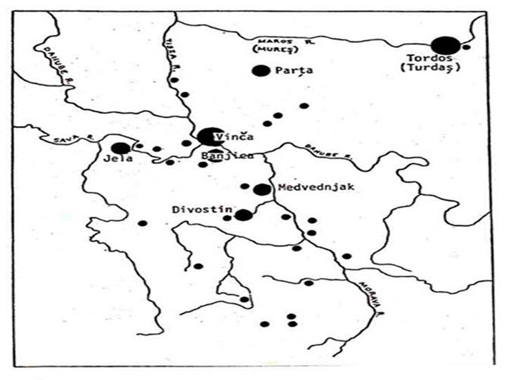 Εικ. 5. Χάρτης που δείχνει τη γεωγραφική έκταση του πολιτισμού της Vinča.